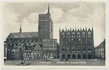 AK Stralsund Rathaus mit Kirche (7798)