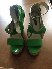 Zara Patent Green Shoes Wedges 38