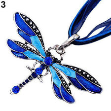 Fashion Dragonfly Charms Enamel Necklace Chain Crystal Rhinestone Wing Pendant
