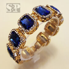 MENS HIP HOP BLING GOLD PLATED ICED OUT RAPPER BLUE SAPPHIRE CZ STONES BRACELET