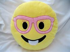 "12"" Female Pink Glasses Emoji Round Cushion Soft Emoticon Stuffed Plush Pillow"