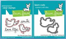 Lawn Fawn Photopolymer Clear Stamp & Die Combo ~  FLY FREE  Birds ~LF343, LF1052