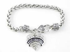 Best Friends Clear Crystal Heart Silver Lobster Claw Bracelet Jewelry Gift
