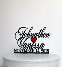 Personalized Wedding Cake Topper - Your first names and wedding date with a red
