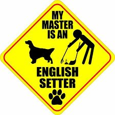 """MY MASTER IS AN ENGLISH SETTER 4"""" DOG POOP STICKER"""