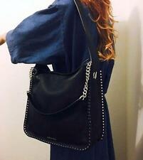 Michael Kors ASTOR Large Silver Studs Hobo Black Leather Shoulder Bag 30T6SATH3L