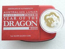 2012 Australia Lunar Dragon $1 One Dollar Silver Gold 1oz Coin Box Coa