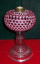Antique Circa 1885 EAPG Hobbs Cranberry Opalescent Coin Dot Oil Lamp
