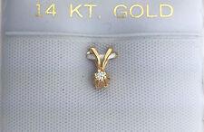 14k Yellow Gold Round Diamond Solitaire Pendant Charm .015