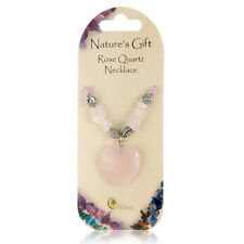 Pink Rose Quartz Love Heart Crystal Chip & Charm Natures Gift Gem Necklace