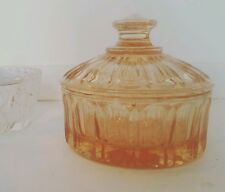 VINTAGE Pink Coloured Glass Art Deco 40s Trinket Pot/ Dish with Lid- 1940s Style