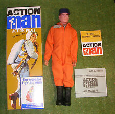 Action man 40th boxed action pilote rouge peint cheveux dur mains (gi joe)