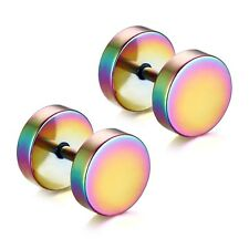 Back/Gold/Silver/Rainbow Stud Earrings Round Barbell Titanium Steel Mens Jewelry