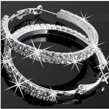 Womens swarovski crystal earrings 14k white Gold Plated silver hoop earrings