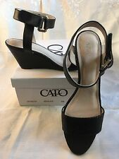 NWT Ladies 9M Sandals Black Wedge Heel Ankle Strap Prom Homecoming Holiday Party
