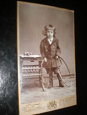 Cdv photograph sailor girl boots hoop by Fuchs at Dresden Germany c1900s