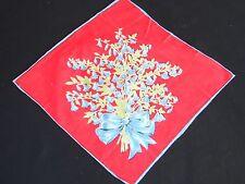 VINTAGE RED & BLUE FLORAL PRINT LADIES' HANKIE/HANDKERCHIEF