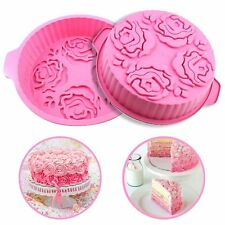 "9"" Large Round Silicone Cake Pan Mould Non-Stick Pie Mold Baking Tray Bakeware"