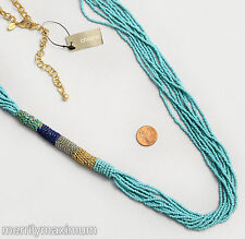 Chico's Signed Statement Necklace Gold Tone Long Blue Multi Strand Beads NWT
