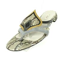 MIU MIU Gray Python Skin & Leather Spade Detail Strappy Thong Sandals 36.5