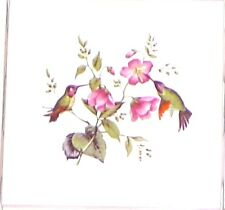 "Hummingbird Flower Ceramic Accent Tile 4.25"" Kiln Fired Bird Decor Back Splash"