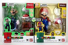 "In STOCK S.H. Figuarts Super Mario Bros.""Luigi + Mario"" SET Bandai Action Figure"