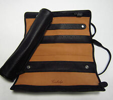Cambridge Leather Jewelry Roll Organizer Travel Case w/removable Pouch 3 Zippers