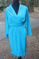 Vintage 12 Teal Blue Wrap Around Diane Von Furstenberg silk M medium dress 10