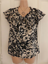 Next sp size 14 black and gold (or beige) floral blouse with pussy bow