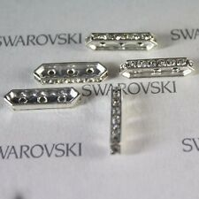 6 pieces Swarovski 77719 19X5mm Rondelle SILVER BAR SPACER 3 HOLE Crystal CLEAR