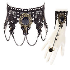 Womens Steampunk Costume Bracelet & Necklace Set Goth Jewellery - Black Jewell