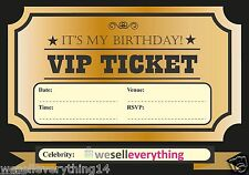 20 VIP TICKET INVITE BIRTHDAY PARTY INVITATIONS KIDS BOYS GIRLS ADULTS UK SELLER