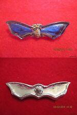 """Czech Glass Blue Winged Gold Moth Mirrorback Button-2.196""""x.442""""=55.78mmx11.21mm"""