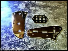 TOG FENDER JAGUAR STYLE CONTROL PLATE KIT SET OF 3 PLATES GOLD NEW WITH SCREWS