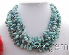 N1204050 6Strds Natural Larimar Necklace-Aventurine Toggle Clasp