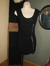 Velvet Touch,woman's soft,thin, stretchy black dress w/long zipper in front,sz M