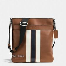 Coach F54193 Mens Charles Crossbody In Signature Varsity Leather Dark Saddle NWT