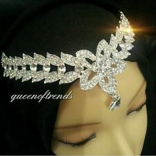 SALE Luxury Silver crystal bridal wedding hijab headpiece headchain jewellery