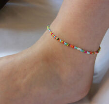 Adjustable Rainbow Seed Beads Ankle Bracelet Anklet Hippy Love Beach Festive