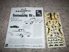 AMT -ANNUAL1960  FORD FALCON-INSTRUCTIONS/DECALS-SCREWBOTTOM 4 MODEL CAR