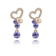 18K Rose Gold GP Made With Swarovski Crystal Round Cut 2x Heart Purple Earrings