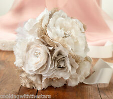 Burlap & Lace Bridal Bouquet and Groom's Boutonniere SET