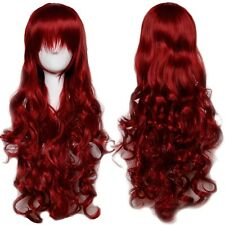 80cm Women Long Cosplay Wig Sexy Straight Curly Party Dress Hair wig Wine Red