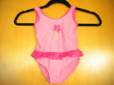 BABY SWIMMING COSTUME / SWIMSUIT - SIZE 18-24 MONTHS - PINK WITH FRILL