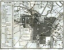 Pianta di Torino.Carta Topografica,Geografica.Acciaio.Artaria.Stampa Antica.1857