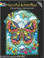 Fanciful Butterflies Stained Glass Adult Colouring Book Creative Art Therapy