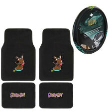 New Cartoon Scooby Doo Dog Car Truck Front Rear Floor Mats Steering Wheel Cover