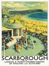 TRAVEL TOURISM SCARBOROUGH BEACH RESORT YORKSHIRE UK ART POSTER PRINT LV4240