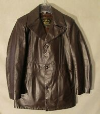 S4062 Genuine Leather Brown Leather Button Up Jacket Removable Faux Fur Lining