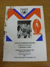 05/12/1993 Rugby League Programme: Carlisle v Ryedale York (Heavy Marked)